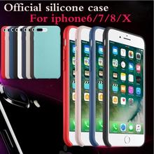 Original silicone Phone Cases For Apple iphone X 8 Plus with logo covers for iphone 6s 6 7 L case with retail box(China)