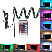 Neon Accent LED Strips Bias Backlight RGB Lights with Remote Control for HDTV Flat Screen TV Accessories Desktop PC Multi Color(China)