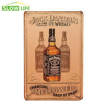 Jack Whiskey Mellowed Drop By Drop Metal Plate Wall Decor Tin Signs Bar Pub Cafe Home Art Metal Sign Garage Painting Plaque
