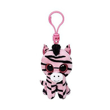 "Ty Beanie Boos 4"" 10cm Zoey the Zebra Clip Plush Keychain Stuffed Animal Collectible Big Eyes Doll Toy"