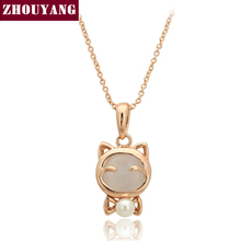 Top Quality Lovely Cat Rose Gold Color Fashion Pendant Necklace Jewelry Made with Austria Crystal Wholesale ZYN122 ZYN123(China)
