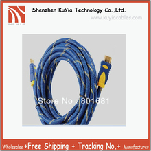 KUYiA Free shipping+HDMI1.4 cable 3m with nylon mesh&dual ferrite cores for hdmi ethernet,3D&blue ray +wholesales(China)