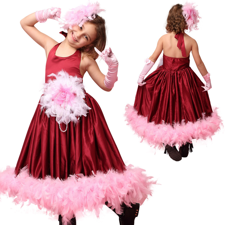 Children Girls feather pageant dresses for girls glitz wine flower girl dresses elegant birthday gown for 2 to 7 years old<br>