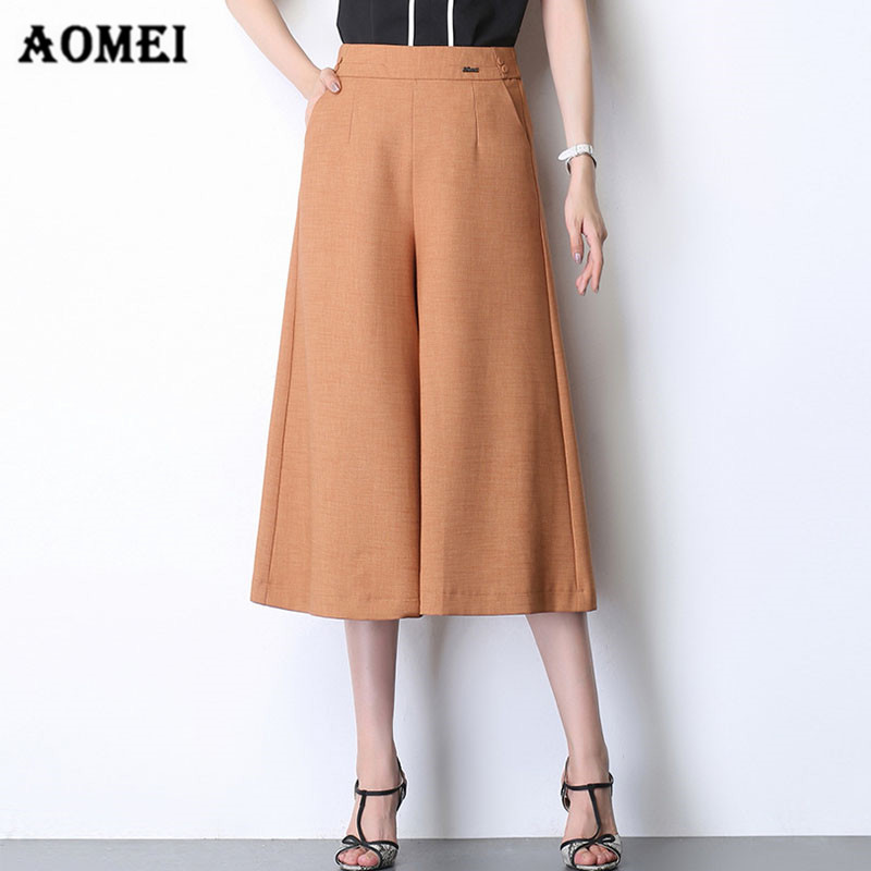Wide Leg Pants for Women Black Loose Fit Office Lady Calf Length Stretch Waist Elegant Officewear Casual Skirt Trousers Culottes