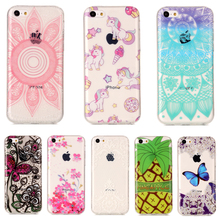 For iphone 5C TPU Phone Case For Apple iPhone 5C Fashion Lace Butterfly Flower Unicorn Soft Silicone Back Shell Cover(China)