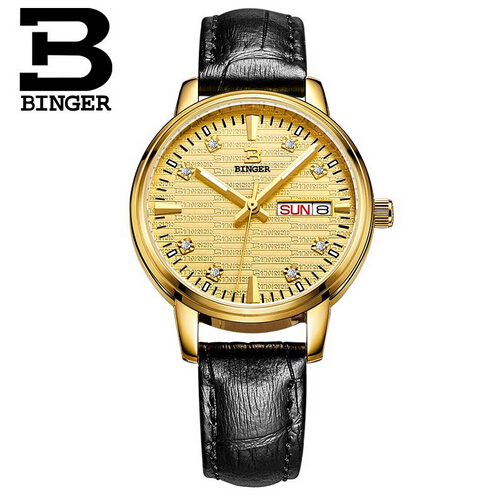 Binger Ladies Fashion Quartz Watches Women Rhinestone Leather Casual Dress Watch Rose Gold Crystal reloje mujer montre femme<br>
