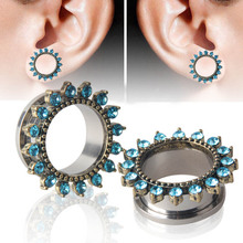 1 pc! Stainless Flower Ear Gauges Plugs Tunnels Screw Fit Expansion Ear Stretched Piercing Fesh Tunnels Body Jewelry 8 sizes(China)