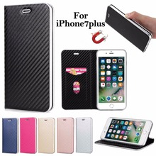 Carbon Fiber Flip Magnet Phone Case For Apple iPhone 7 Plus 6 6 s Plus Case 5s Phone Bag for Samsung Galaxy S7 edge S8 Plus Cap