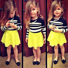 Fashion cotton long sleeve tshirts for baby girl tutu skirt and top yellow black striped dress set