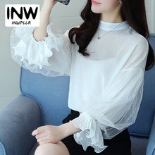 2017 New Arrival Women Tops Autumn Chiffon Blouse Female Mesh Puff Sleeve Femme Shirts Elegant Long Sleeve Blusas Femininas(China)
