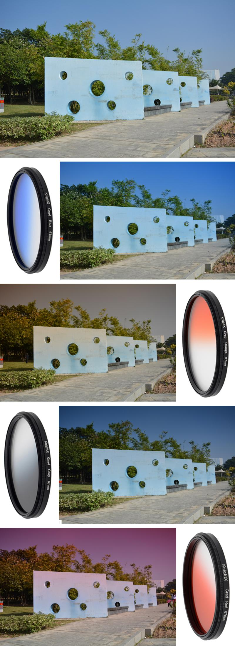 KnightX 52mm 58MM 67MM Graduated Color ND CPL UV Lens Filter Kit for Nikon canon D5100 D3300 D5300 D50 D3100 D30 SLR Camera 7
