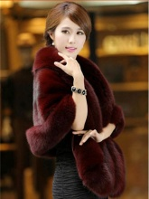 Hot Sale Bridal Wedding Faux Fur Coat Autumn Winter Warm Shawls Wedding Outerwear Jacket Bolero White Black Burgundy Free Size