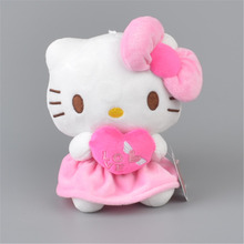 Pink Heart Hello Kitty Stuffed Plush Toy,  Baby Kids KT Doll Gift Free Shipping