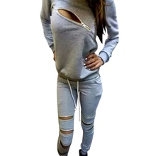 Autumn Winter Women Cotton Tracksuit 2 Piece Set Clothing Solid Sportswear Suit Hoodies Set Costumes