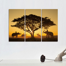 Modern Printed Sunset Elephant Oil Painting 5 Panel Cuadros Canvas Wall Art for Home Decor Modular Painting Framed