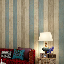 2015 New Vintage Stripes Non-woven Wallpaper Simple Retro Wood Wall Paper Bedding Room Decor Papel Parede Home Decoration QZ0018