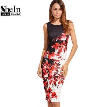 Shein multicolor estampado de flores sin mangas del lápiz party dress verano de las mujeres florales hasta la rodilla longitud de la envoltura elegante dress