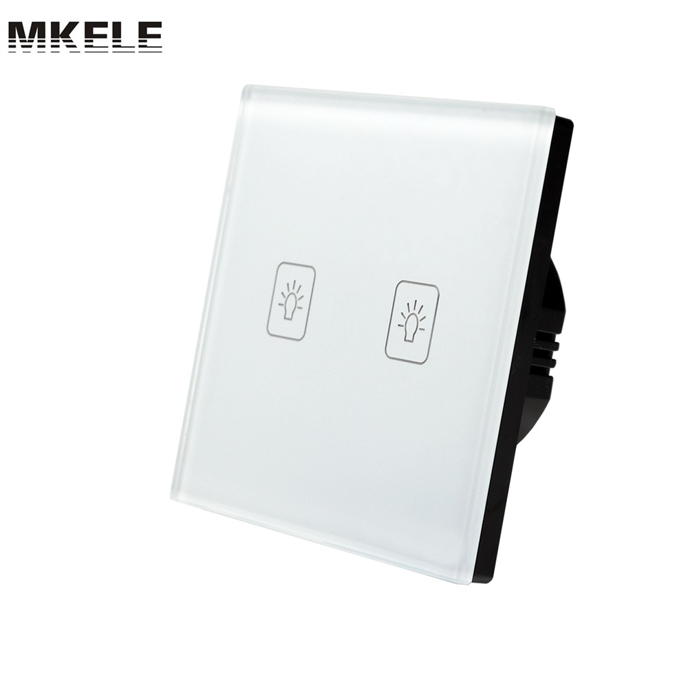 Touch Switch 2 Gang 2 Way EU Standard White Crystal Glass panel Light Switch Touch Screen wall switch wall socket for lamp<br>