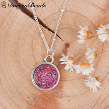 "Buy DoreenBeads Resin Drusy Necklace Link Curb Chain Antique silver color Round Purple Pendant 48.5cm (19 1/8"") long, 1 Piece for $1.69 in AliExpress store"