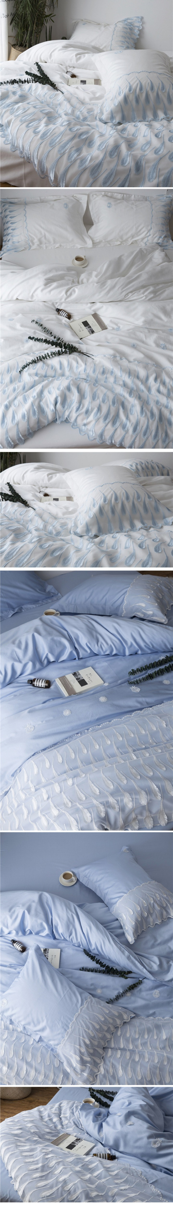 Wedding bedding sets king size 60s satin long staple cotton bed sheets romantic lace embroidery duvet cover bed linen 5
