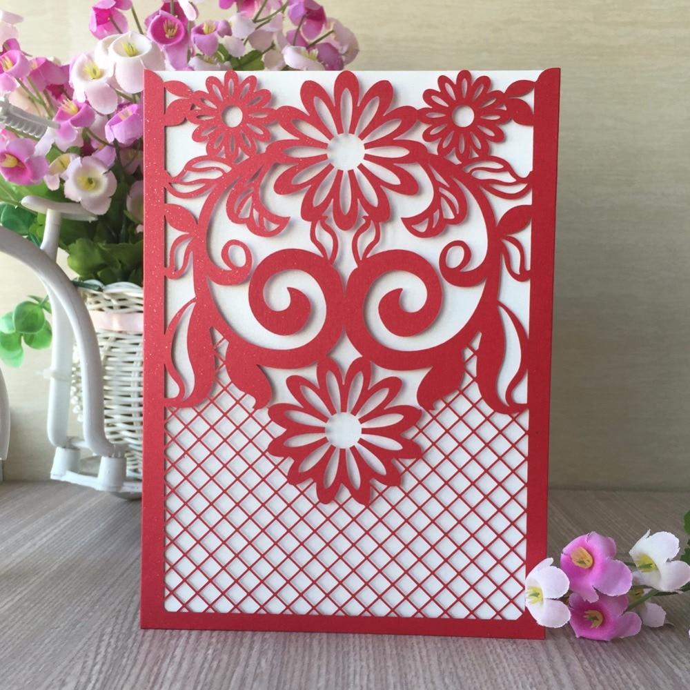 50pcs/pack Laser Cut Wedding Invitations Cards Kit Square Lace ...