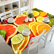 3D Tablecloths Beautiful Orange Slices Printing Waterproof/oil-proof Washable Thicken Rectangle Dining Table Tea Table Cloth