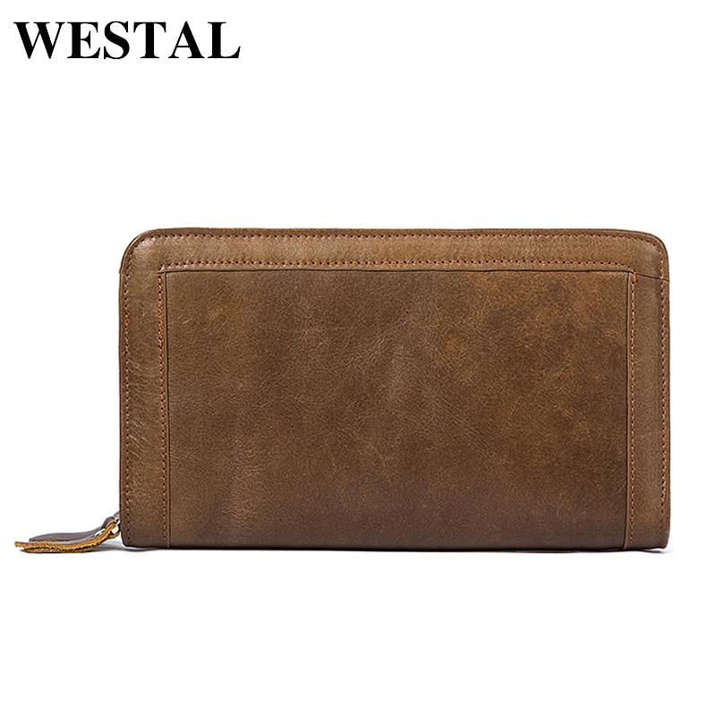 WESTAL Men Wallets Genuine Leather Double Zipper Clutch Male Wallet Men Purse Fashion Male Long Phone Wallet Man's Clutch Bags