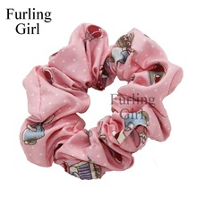 Furling Girl 1PC Cartoon Kids Girl Pattern Fabric Hair Scrunchy Ponytail Holder Hair ties Gum Hair Bands