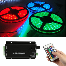 RGB Controller Music IR Controller Sound Sensitive for Colorful RGB Strip Lights DC12V-24V with 24 Keys Remote