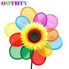 Sunflower Windmill Wind Spinner Rainbow Whirligig Wheel For Home Yard Decoration APR11(China)