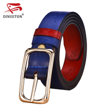 DINISITON Floral Carved Women Belt 6 Colour High Quality Designer Genuine Leather Second Layer Skin Female Strap Ladies belts(China)