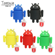 100% Real Capacity Pen Drive Cartoon Cute Android Robot 4GB 8GB16GB 32GB USB Flash Drive Memory Stick PenDrive Gifts(China)