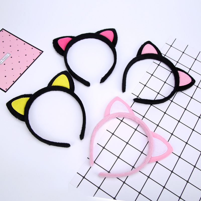 Yellow Pink Red Cut Cat Ear Furry Black Hairbands Lovely Headbands for Kids Girls Women Headwear(China (Mainland))