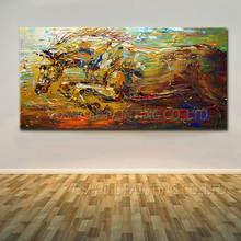 China Dafen Oil Painting Village Factory Wholesale Impression Horse Oil Painting On Canvas Running Abstract Horse Oil Painting(China)