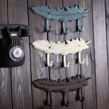 2pcs/set Vintage cast iron feather hook bar ornaments iron art wall hang coat hooks creative hat hook hang hooks