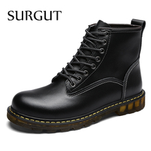 SURGUT Handmade Cow Split Leather Boots Warm Fur Men Winter Shoes Waterproof Footwear High Quality Autumn Ankle Adult Men Boots(China)