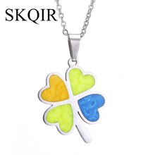 SKQIR News Modern Stylish Multicolor Four Leaf Clover Pendant Necklace Stainless Steel Chain Silver Women Jewelry Unique Design(China)