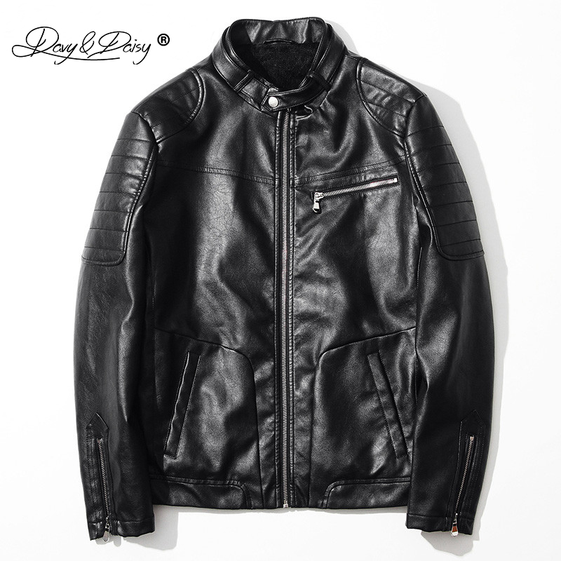 DAVYDAISY Fashion Men Jacket Stand Collar Thick PU Leather Coat Men Outerwear Casual Brand Clothing High Quality TC022