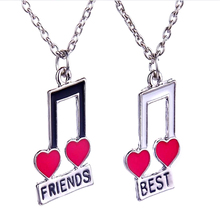 Women Party Dress Wedding Romantic Jewelry Exquisite best friends enamel heart music note chain Necklace
