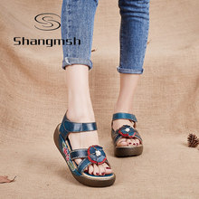 Shangmsh Genuine Leather Gladiator Sandals Fashion Low Wedges Flower Summer Shoe Ladies Platform Sandals Shoes Women Flat Shoes