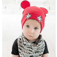 New Baby's cotton gift hats newborn lovely cute cartoon Mickey ears solid kids beanies hot sell unisex hats(m18)