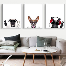 Modern Cute Hip-Hop Animals Aluminum Metallic Poster A4 Print Scandinavian Photo Frames Canvas Living Room Kids Home Decoration(China)