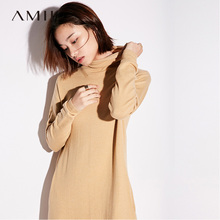 Amii Casual Women 2017 Winter Dress Solid Turtleneck Pocket Knee Length Knit Warm Female Dress