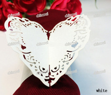 grace heart Paper Napkin Rings Wrap clip towel table Decoration For Wedding Party Event Decors restaurant hotel  Wholesale