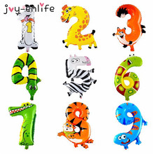 JOY-ENLIFE 1pcs Animal Number 0-9 Foil Balloons Kids Party Decoration Happy Birthday Wedding Decoration Ballon Party Supplies