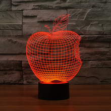 Novelty Apple Acrylic 3D LED Night Light Colorful Gradient Atmosphere Lamp USB Children Bedroom Table Lamp(China)