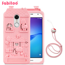 For Huawei Enjoy 6 5.0 inch 3D Cute Cartoon Fabitoo Hello Kitty Phone Case Soft Silicone Rubber Back Cover With Lanyard