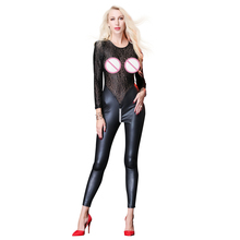 Buy Bodysuit Women Lingerie Lace Latex Jumpsuit Costume Transparent Black Catsuit Pole Dance Playsuit Nightclub Hot Sexy Erotic 2018