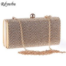 Rdywbu Women's Bag Wave Stripe Full Diamond New Fashion Tide Dinner Party Package Diamond Drill Bag Evening Dress With Chain H50(China)