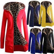 Starlist woman leopard print inside solid color Long sleeve Long jacket zipper wide-waisted Hoodie winter outwear(China)